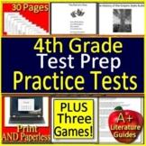4th Grade ELA Reading SELF-GRADING GOOGLE FORMS Test Prep AND Games!