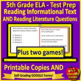5th Grade SELF-GRADING GOOGLE FORMS ELA Test Prep & Games Bundle