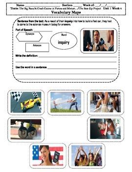 4th Grade MacGraw-Hill Reading Unit 1 Vocabulary Map, Illustration/Photographs