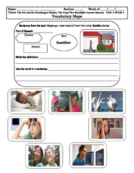 4th Grade MacGraw-Hill Reading Unit 2 Vocabulary Map, Illustration/Photographs