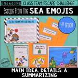 4th Grade Main Idea Details Escape Challenge: Escape from the Sea Emojis!