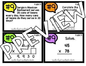 4th Grade Math 4.NBT.5 COLOR! Multi-Digit Multiplication Jenga Task Cards