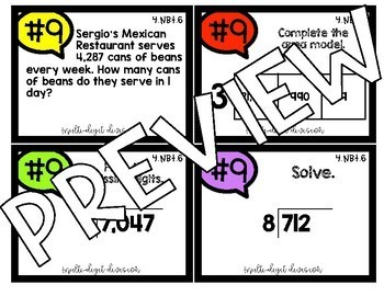 4th Grade Math 4.NBT.6 COLOR! Multi-Digit Division Jenga Task Cards