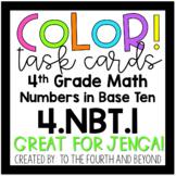 4th Grade Math 4.NBT.A.1 COLOR! Place Value Understanding Jenga Task Cards