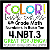 4th Grade Math 4NBT3 COLOR! Rounding Jenga Task Cards