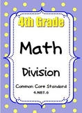 4th Grade Math Activities Division Strategies Multi-Digit Dividends CCSS 4.NBT.6