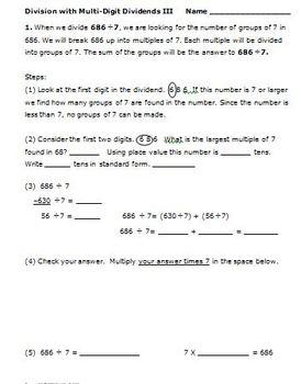 4th Grade Math Activities Division Strategies Multi-Digit Dividends CCSS 4.NBT.6