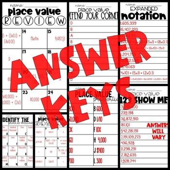 4th Grade Math Activities:  Place Value