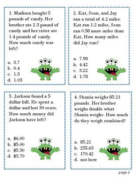 4th Grade Math Add and Subtract Decimals (4.4A)