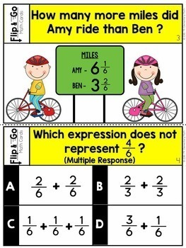 Adding and Subtracting Fractions Task Cards 4th Grade Math Centers