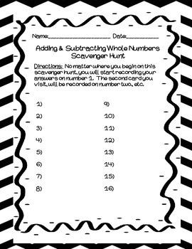4th Grade Math Adding and Subtracting Whole Numbers Scavenger Hunt