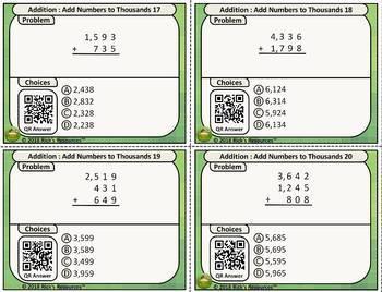 4th Grade Math Addition Subtraction Task Card Kit