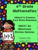 4th Grade Math Common Core  GA Milestones Review Year Round & Test Prep Quizzes