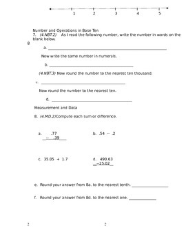 4th Grade Common Core Math Assessment [CUMULATIVE--ANSWER KEY INCLUDED]