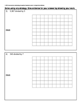 4th Grade Math Assessment - Division of Whole Numbers