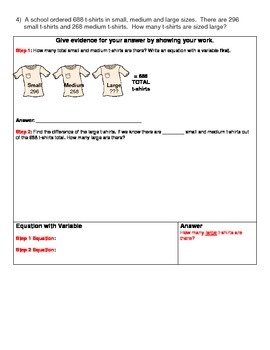 4th Grade Math Assessment - Equations and Word Problems