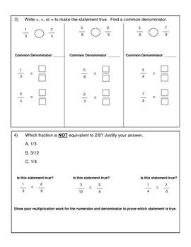 4th Grade Math Assessment - Fraction Equivalence and Ordering