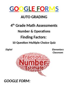 4th Grade Math Assessment: Google Form, Finding Factors