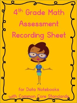 4th Grade Math Assessment Recording Sheets for Data Notebooks (Common Core)
