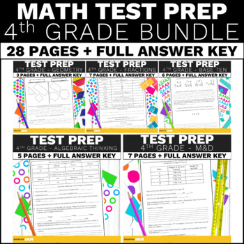 4th Grade Math Assessment and Performance Tasks w/ Answer Keys Bundle