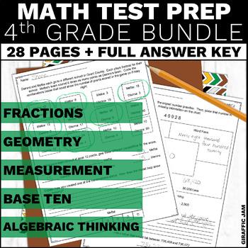 4th Grade Math Assessment and Performance Tasks w/ Answer Keys Bundle