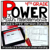 4th Grade Math Assessments DIGITAL AND PRINT VERSIONS BUNDLE Test Prep