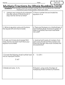 4th Grade Math Assessments - TOTD  - Fractions, Decimals, Geom, Measurement
