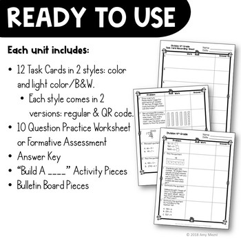 4th Grade Math BUNDLE: 6 Sets of Worksheets, Task Cards, & Center Activities