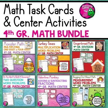 4th Grade Math BUNDLE: 6 Sets of Worksheets, Task Cards, &