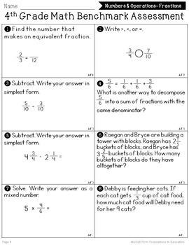 4th Grade Math Benchmarkessment Common Core Aligned