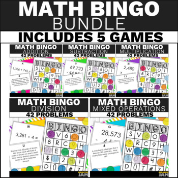 4th Grade Math Bingo Bundle - Math Game for Word Problem and Equation Practice