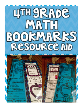 4th Grade Math Bookmark - Resource & Fact Aid