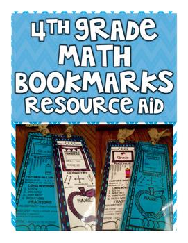 4th Grade Math Bookmark - Resource & Fact Aid