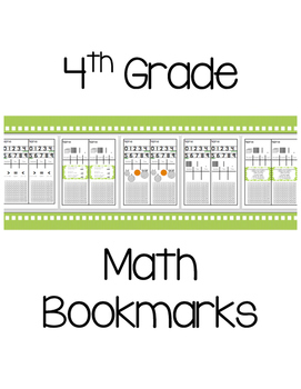 4th Grade Math Bookmarks