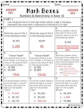 4th Grade Math Boxes - Numbers and Operations in Base 10