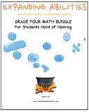 Grade 4 Math Bundle- Fract.,Geo.,Alg.,M&D,Base 10 for Students Hard of Hearing