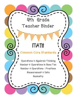 4th Grade Math CCSS Binder Covers