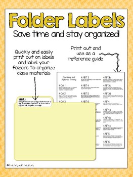 4th Grade Math CCSS Folder Labels