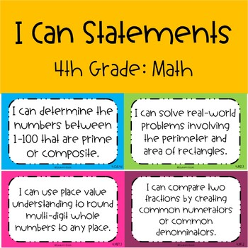 CCSS I Can Statements 4th Grade Math