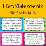 CCSS I Can Statements 4th Grade Math