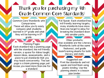 4th Grade Math CCSS & Planning Pages