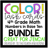 4th Grade Math COLOR Task Cards for Jenga NBT BUNDLE Over