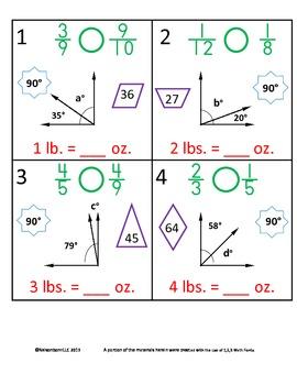 4th Grade Math Calendar - Angles, Comparing Fractions, Mass, Prime/Composite