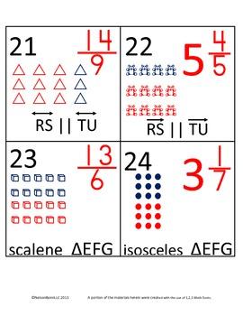 4th Grade Math Calendar - Equivalent Fractions, Geometric Figures, Fractions