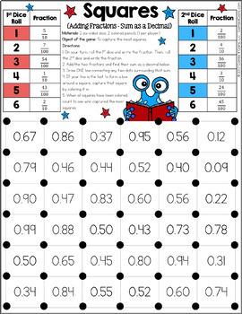 4th Grade Math Centers: 4th Grade Decimals Games {4.NF.5, 4.NF.6, 4.NF.7}