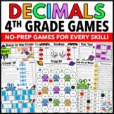 4th Grade Decimal Games: 4th Grade Math Games No Prep {4.NF.5, 4.NF.6, 4.NF.7}