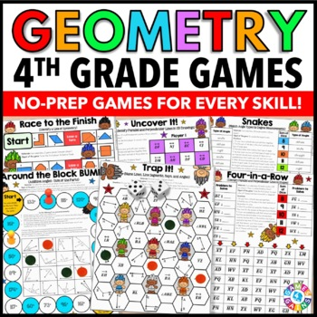 4th Grade Math Centers: 4th Grade Geometry Games {4.G.1, 4.G.2, 4.G.3, 4.MD.6}