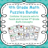 Bundle End of the Year 4th Grade Math Review Game Puzzles Morning Work Centers