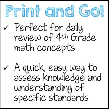 Daily Math Reviews for the Whole Year 4th Grade Common Core