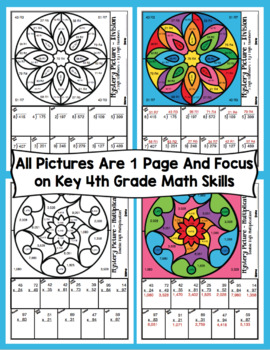 4th Grade Math Color By Number Designs: 4th Grade Math Mystery Pictures